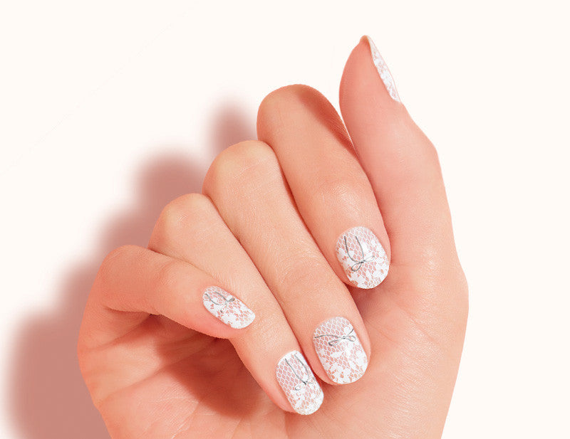 White Transparent Floral Lace Prim & Proper Design FX Patterns No Heat Nail Wraps 16 Wraps NW13 Close Up - Dashing Diva.jpg
