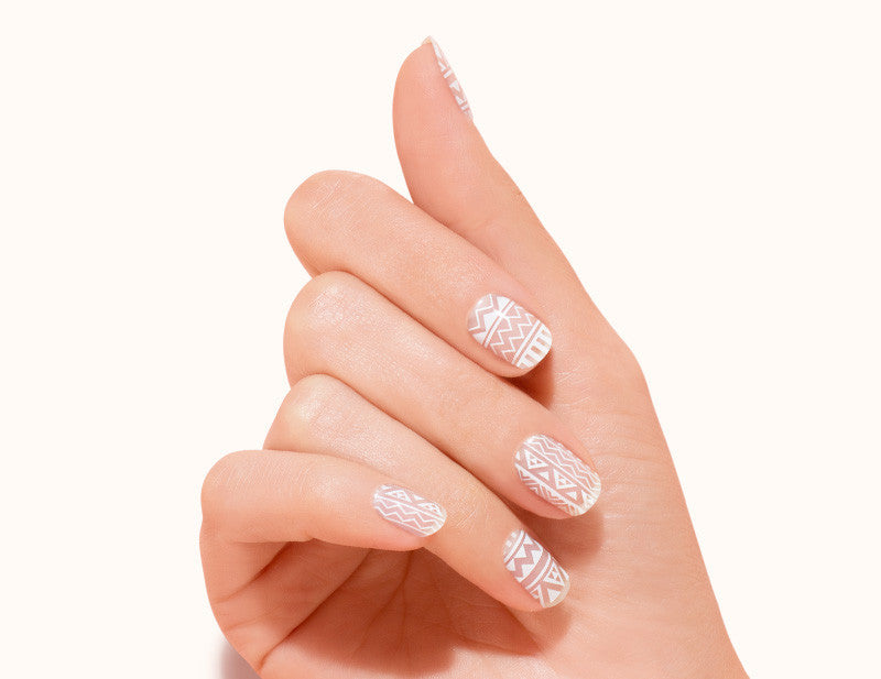 White Transparent Follow the Line Design FX Patterns No Heat Nail Wraps 16 Wraps NW11 Close Up - Dashing Diva.jpg