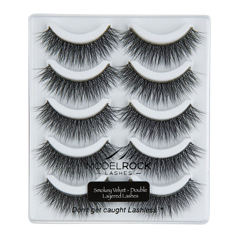 MODELROCK Lashes Smokey Velvet Collection - Double Layered - 5 Pair Lash Pack