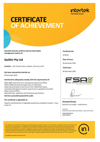 Food Safety Assessment Certificate