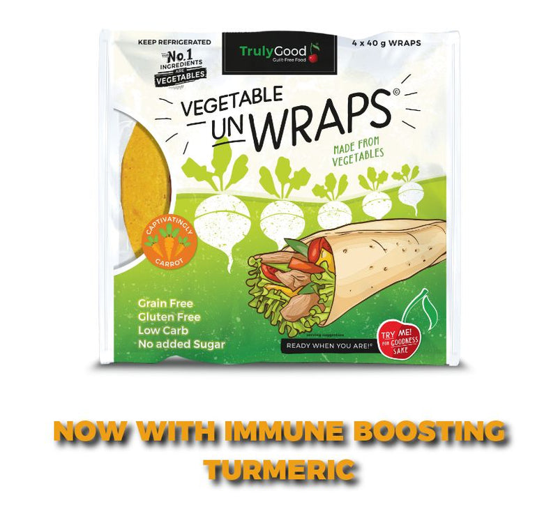 Carrot and Vegetable Wraps with added Turmeric: 4 servings