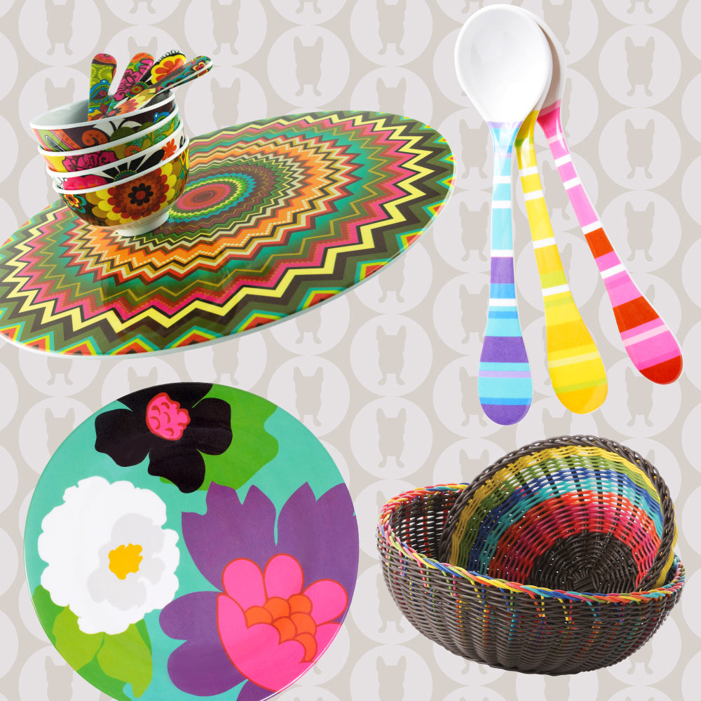 host, gifts, platters, melamine plates