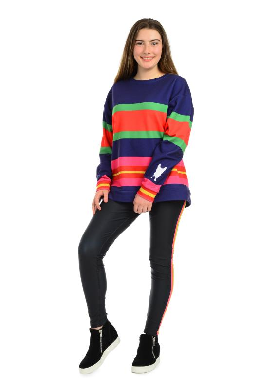 Oversized sweatshirt. Large bold Stripe pattern. great, fun fashionable vacation style. French Bull