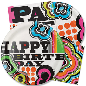 Paper Dinner Plate - Mod Birthday Round Paper Dinner Plate