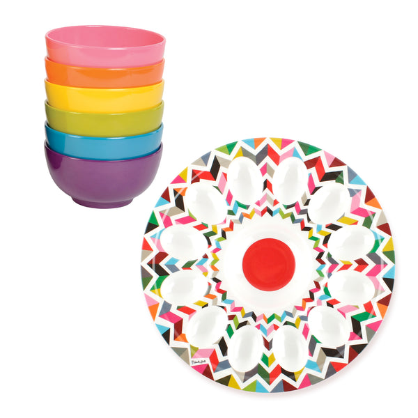 Ziggy Egg Platter and Rainbow Mini Bowls Bundle