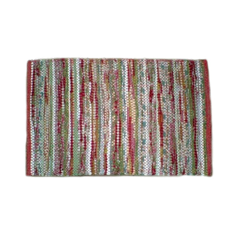 27'' x 40'' Hand Woven Rug, Red & Green (#66)