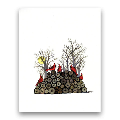 Cardinals on Woodpile, 8''x10'' Art Print