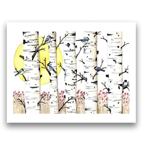 Chickadees in Birch with Sun, 8'' x 10'' Art Print