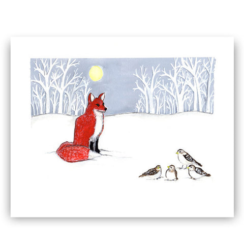 Fox and Snow Buntings 8X10 Art Print