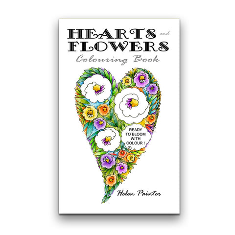 Colouring Book, Hearts and Flowers