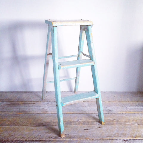 Antique wooden step ladder, turquoise