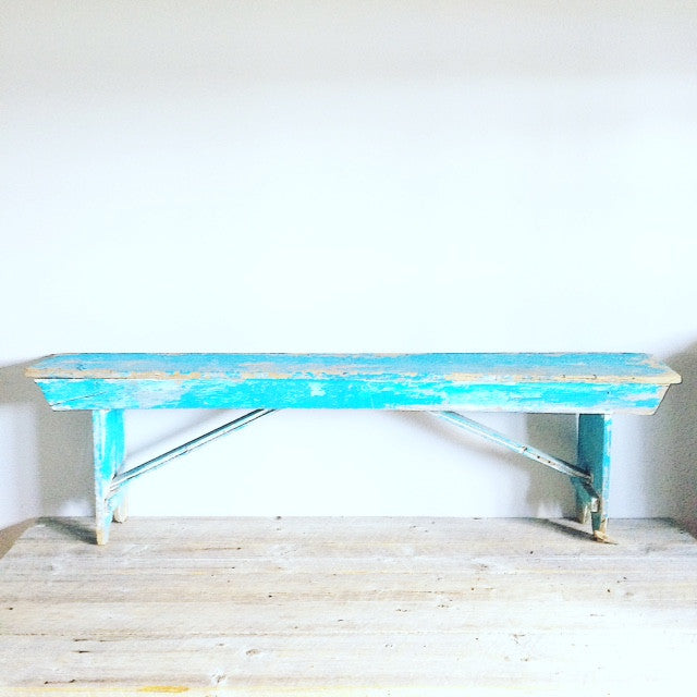 Antique Wooden Turquoise Bench