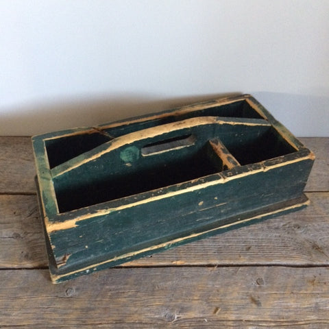 Antique wooden toolbox, green