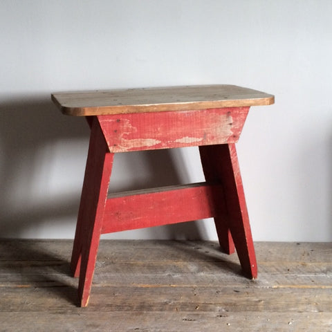 Antique Wooden Bench, Red