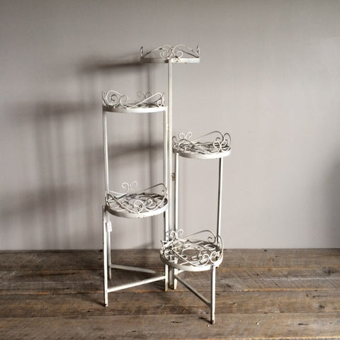 Antique Metal Plant Stand, White