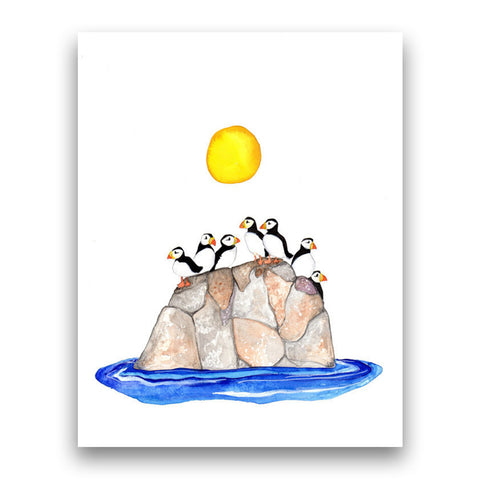 Puffins in the Sun, 8''x10'' Art Print