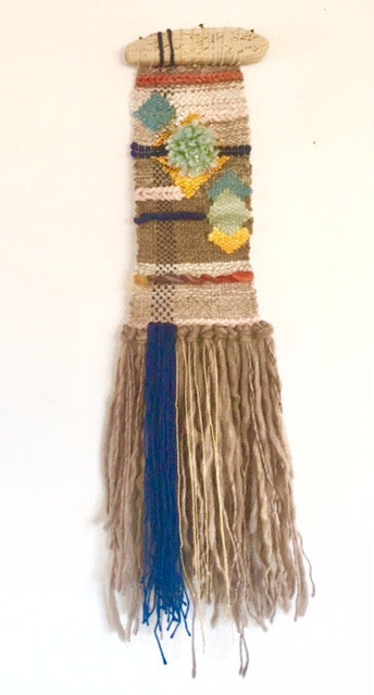 "Untitled V 6"" X 28"" Driftwood, wool, merino, alpaca, linen, silk, bamboo, cotton with metallic wrap"