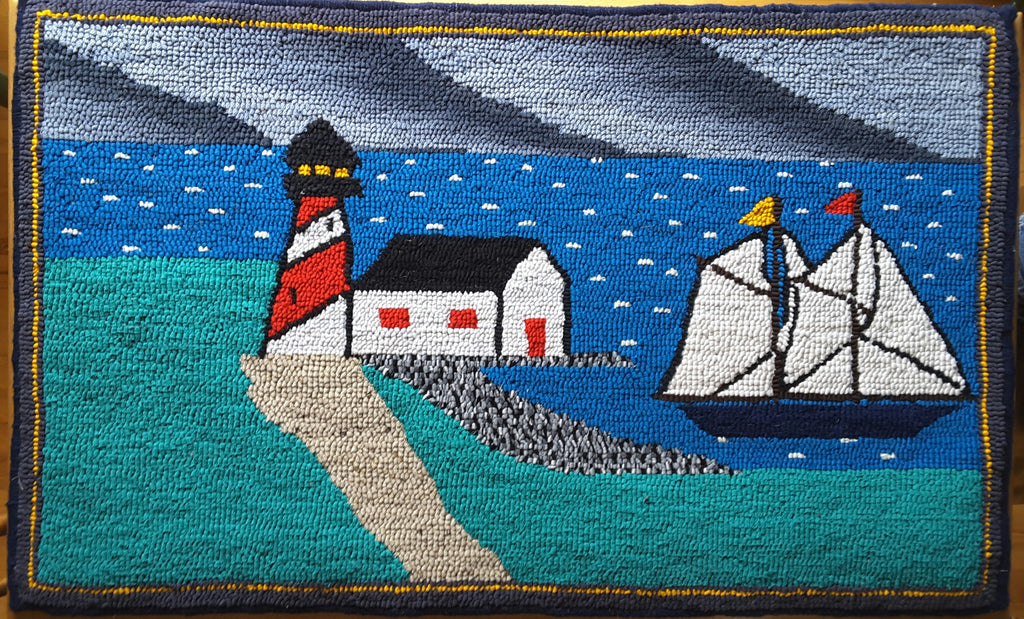 "Hand Hooked Rug - Lighthouse, Dark Sky 18"" x 35"""