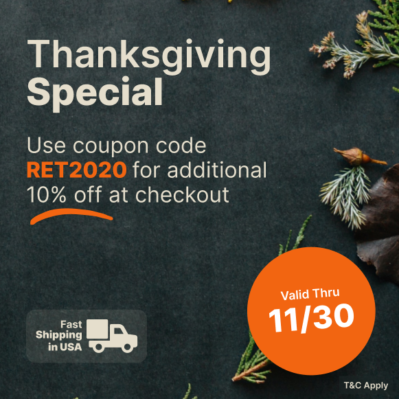 RET2020 for 10% OFF at checkout Banner – Thanksgiving Special