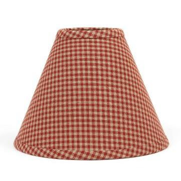 "Barn Red-Oat Newbury Gingham 12"" Lampshade - Interiors by Elizabeth"