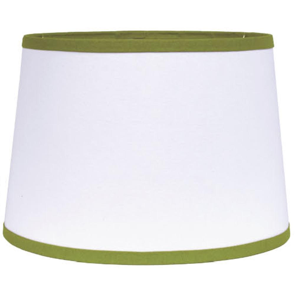 "White with Lime Trim 14"" Washer Tapered Drum - Interiors by Elizabeth"