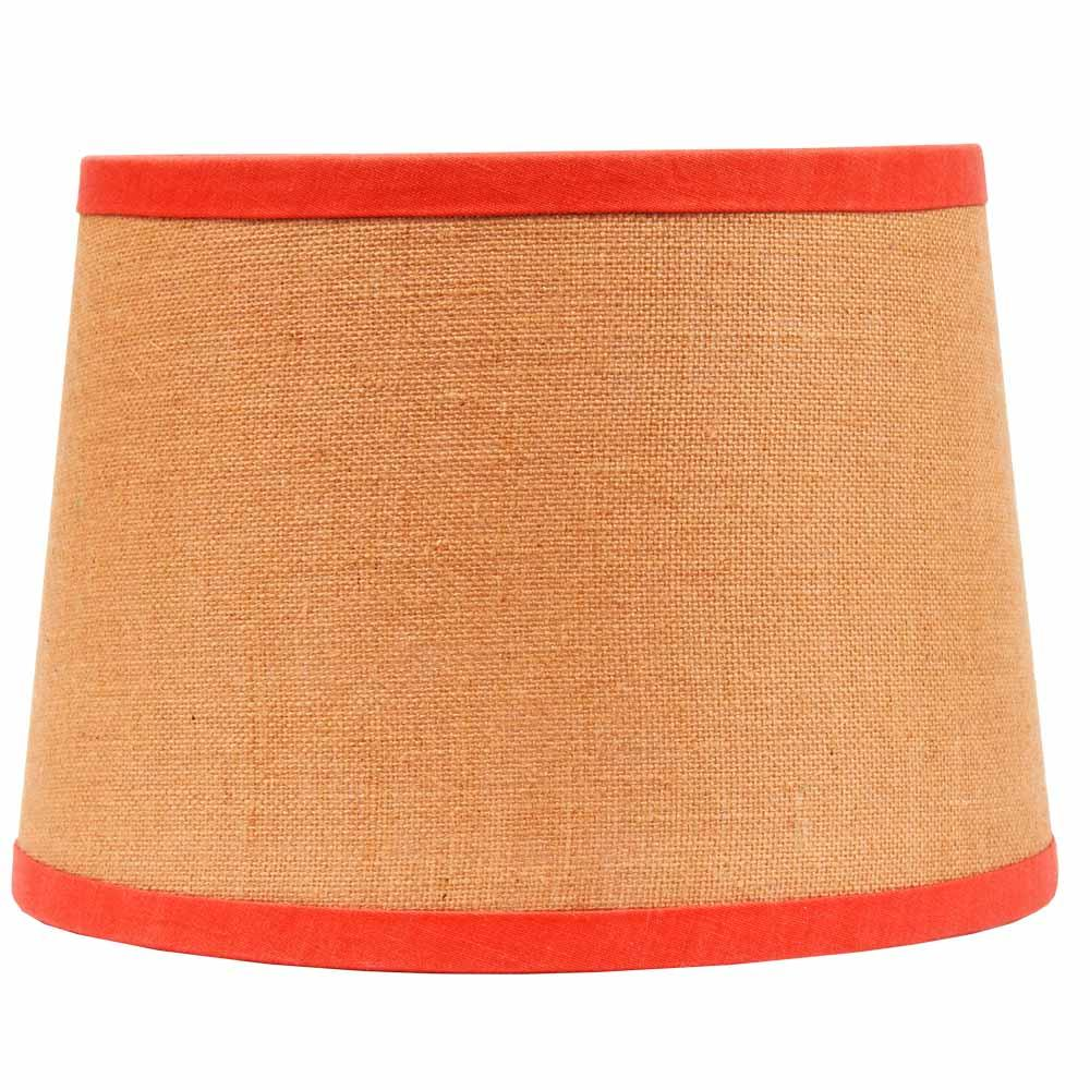 "Burlap with Orange Trim 14"" Washer Drum Shade - Interiors by Elizabeth"