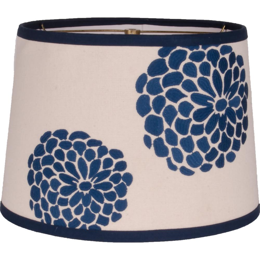 "Zinnia Colonial Blue - Grain Sack Cream 14"" Drum Shade - Interiors by Elizabeth"
