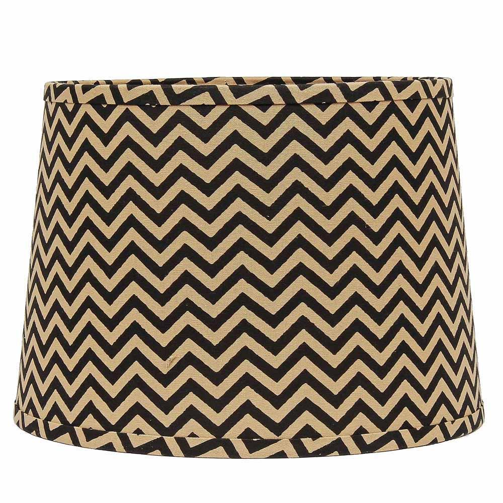 "Chevron 14"" Washer Tapered Drum Beige-Black - Interiors by Elizabeth"