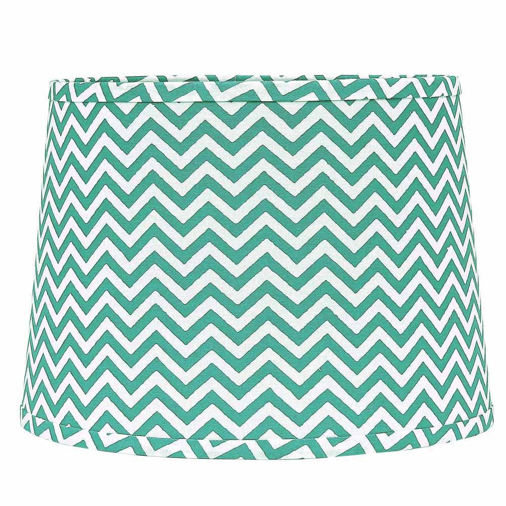 "Chevron 14"" Washer Tapered Drum Seafoam-White - Interiors by Elizabeth"