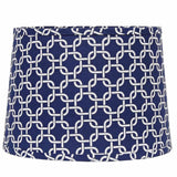 "Greek Key 14"" Washer Tapered Drum Cobalt-White - Interiors by Elizabeth"