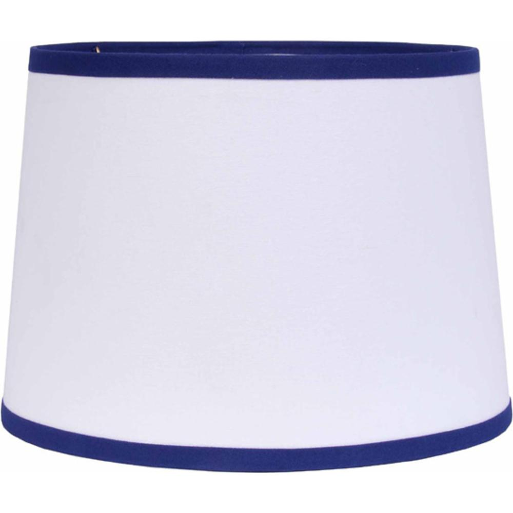 "White with Cobalt Trim 16"" Washer Tapered Drum - Interiors by Elizabeth"