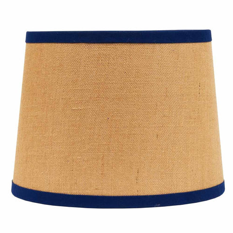 "Burlap with Cobalt Trim 16"" Washer Drum Shade - Interiors by Elizabeth"