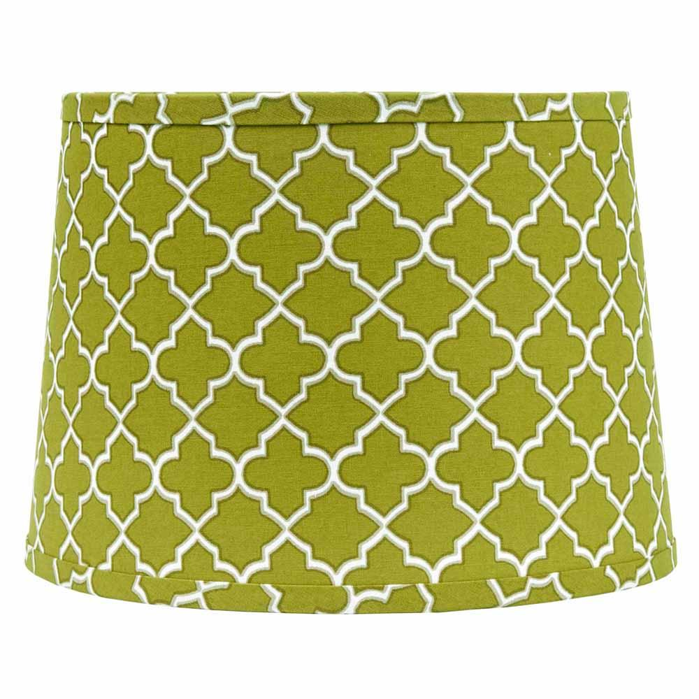 "Quatrefoil Lime Green-Grey-White 16"" Washer Drum Shade - Interiors by Elizabeth"