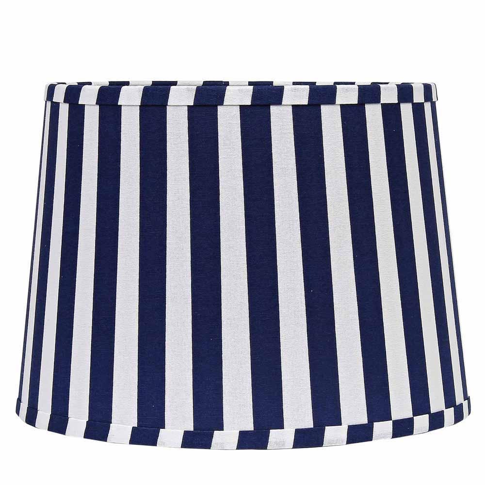"Stripe 16"" Washer Tapered Drum Cobalt-White - Interiors by Elizabeth"
