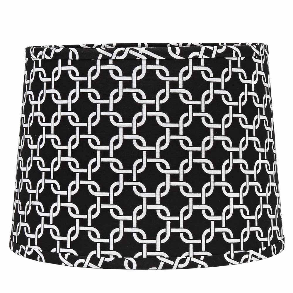 "Greek Key 16"" Washer Tapered Drum Black-White - Interiors by Elizabeth"