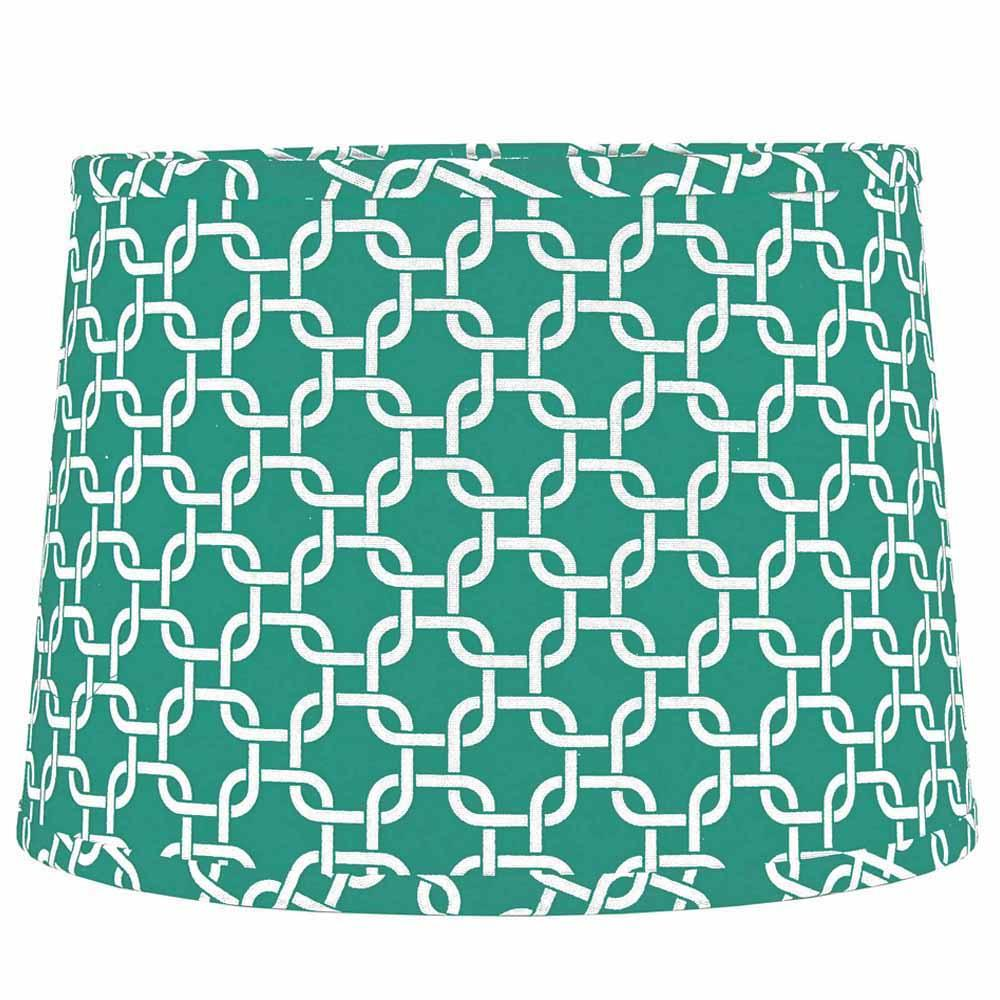 "Greek Key 16"" Washer Tapered Drum Seafoam-White - Interiors by Elizabeth"