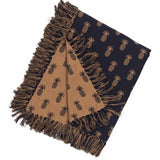 Black - Mocha Pineapple Jacquard Afghan - Interiors by Elizabeth