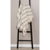 Grain Sack Stripe Pewter-Cream Afghan - Interiors by Elizabeth