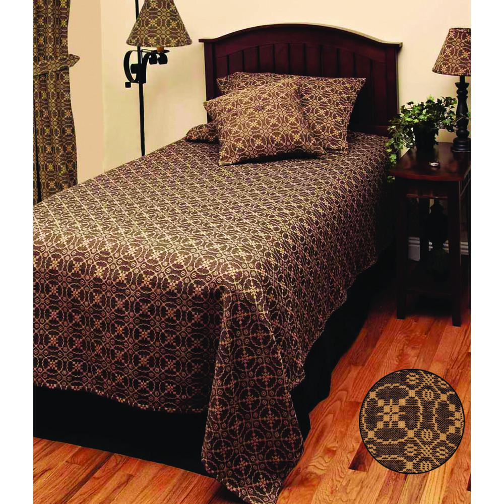 Black-Tan Marshfield Jacquard Bed Cover King - Interiors by Elizabeth