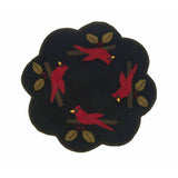 Cardinal Christmas Black Candle Mat - Set of Two