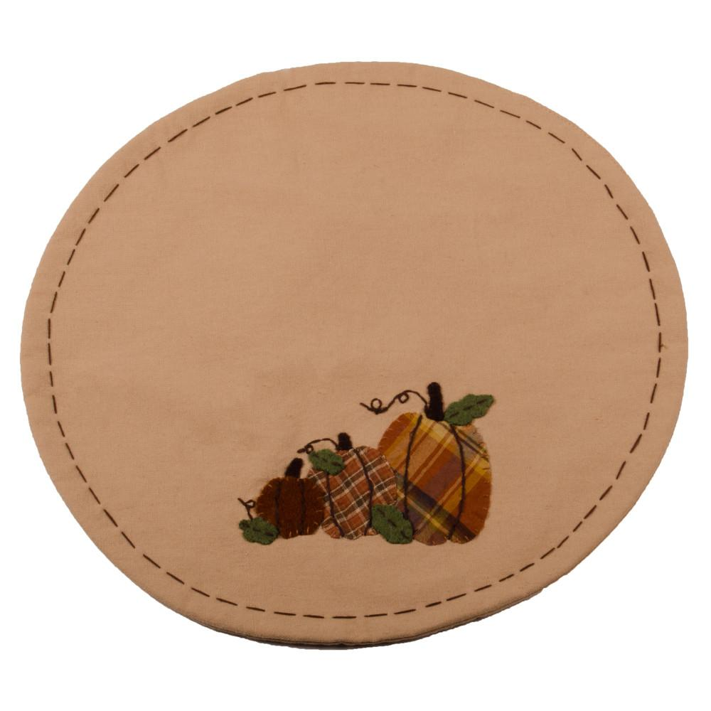 Plaid Orchard Pumpkins Candle Mat Nutmeg-Orange - Set of Two - Interiors by Elizabeth