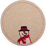 Happy Snowman Candle Mat Nutmeg - Set of Two