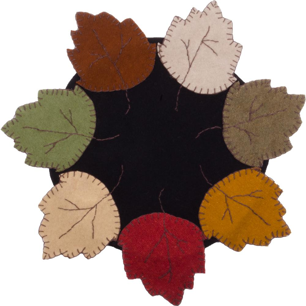 Autumn Leaves Candle Mat Black - Set of Two - Interiors by Elizabeth