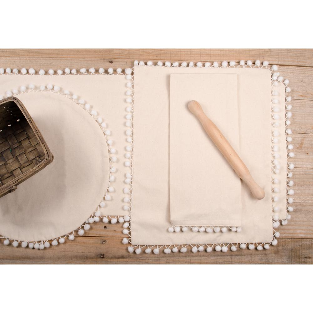 Homespun Pompom Candle Mat Buttermilk - Set of Two - Interiors by Elizabeth