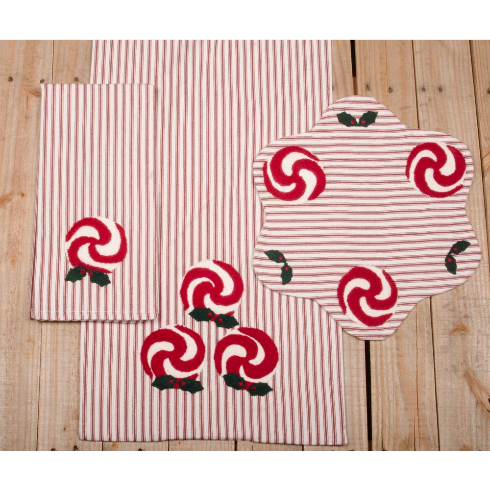"Peppermints 15"" Diam. Red-White Ticking - Set of 2 - Interiors by Elizabeth"