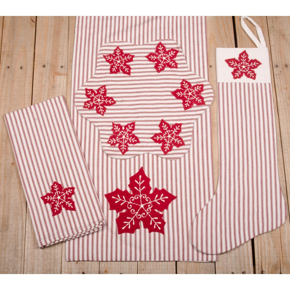 "Poinsettia Star 15"" Diam. Red-White Ticking - Set of 2 - Interiors by Elizabeth"