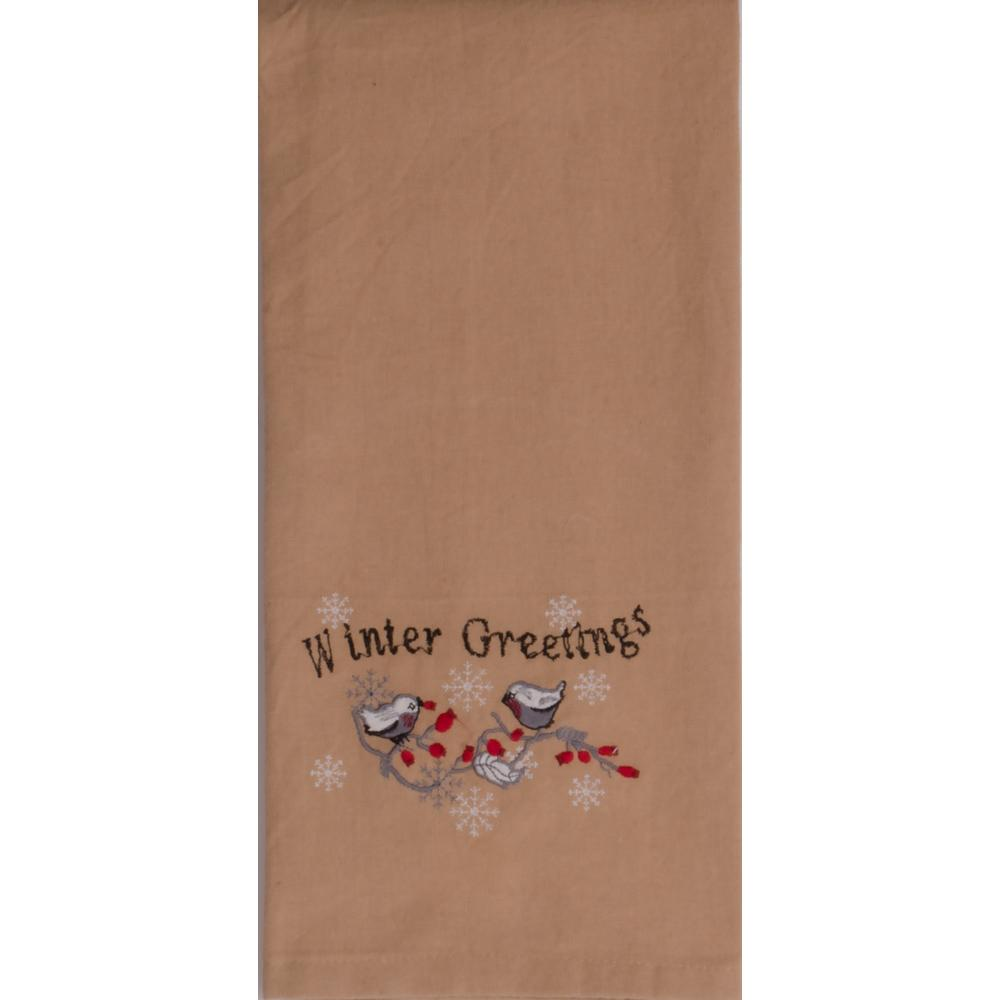 Winter Greetings Buttermilk Towel - Set of Two - Interiors by Elizabeth