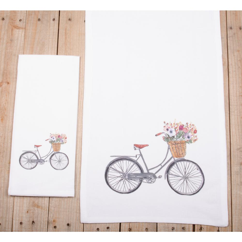 "Bicycle 18"" x 28"" White - Set of 2 - Interiors by Elizabeth"