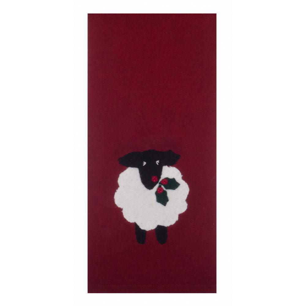 "Holly Sheep 18"" x 28"" Barn Red - Set of 2 - Interiors by Elizabeth"