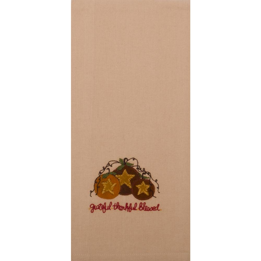 Grateful Thankful Blessed Towel Nutmeg - Set of Two - Interiors by Elizabeth